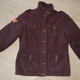 куртка утепленная коричневая с капюшоном, р. M-L