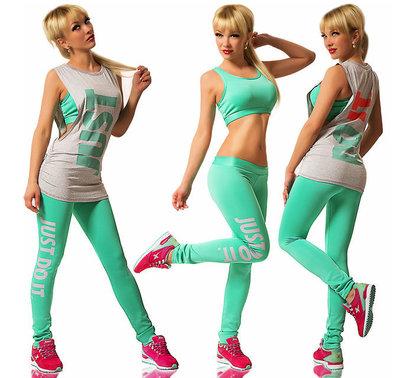 5c97337bc110 Стильный летний женский спортивный костюм-тройка с леггинсами JUST DO IT в  ...