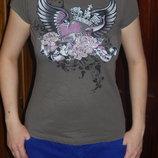 Стильная футболочка S 40-44 р-р со стразами
