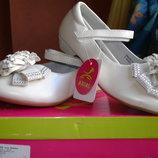 Сказочные туфли для девочки бежевые новые нарядные р. 32,33,34,35