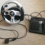 Игровой руль,педали,доя приставки оригинал.