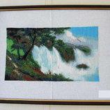 Продам вышитую крестиком картину Водопад 17 30 см