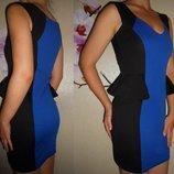 Платье черно-синее утягивающее с баской новое 10 38 р.