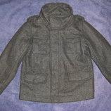 Стильное фирменное шерстяное пальто с капюшоном и без на 4 и 6 лет