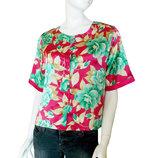 Блузка оверсайз с коротким рукавом, кроп топ, цветочный принт