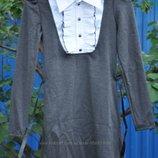 Трикотажное платье-обманка в школу, длинный рукав
