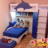 Кровать-Чердак с угловым шкафом