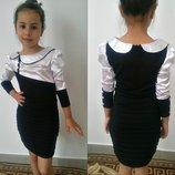 Школьное платье с атласом