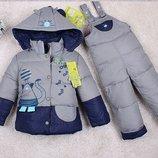 пуховк детский ХИТ комплект зимний комбинезон монклер куртка штаны