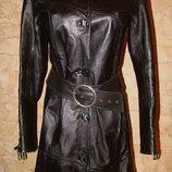 Кожаный плащ пальто р.р.S-M