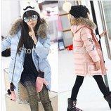 куртка детская ХИТ -мех енот термо зимняя демисезонная на девочку пуховик