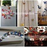 Стикер - бабочки наклейки- магниты различные цвета