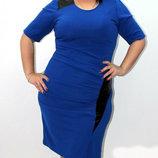 Платье со вставками эко кожи 54 размера