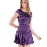 Красивое Атласное-шелк фиолетовое платье Размер С