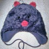 Веселая шапка для девочки теплая флис 49 см размер от C&A Германия