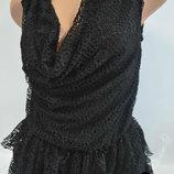 Черное Изумительное платье с рюшами из Италии