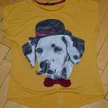 7 - 8 лет 122 - 128 см обалденная фирменная натуральная футболка девочке с живым принтом