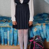 Новый школьный фирменный сарафан для девочки синий, черный. 34-40, рост134-156