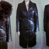 Пальто-Куртка трансформер из натуральной кожи с шикарным мехом енота -размер 46