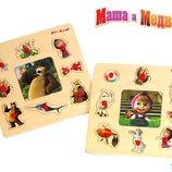 Деревянные рамки-вкладки с пазлом Маша и медведь, Простоквашино и Винни-Пух