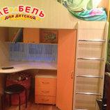 Кровать-Чердак с рабочей зоной и угловым шкафом к25 Merabel