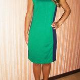 Платье зеленое с синим
