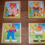 Игра-Вкладыш Одень Мишку деревянная