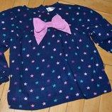 6 - 9 месяцев 9 кг фирменная Рубашка блузка для модници легкая и стильная в звездочки