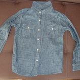 рубашка джинсовая, голубая, рост 130