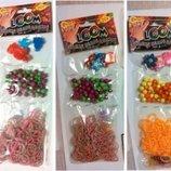 Резинки для плетения браслет браслетов аксессуары бусинки шармы Rainbow Loom bands детский набор
