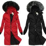 Черний и красний женский зимний пуховик