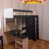 Кровать-Чердак с выдвижным столом и угловым шкафом к1-4 Merabel