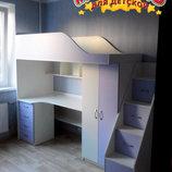 Кровать-Чердак с рабочей зоной, шкафом и лестницей-комодом кл5-3 Merabel