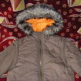 Синяя парка и бежевая теплая, осенне-зимняя куртка 915, рост 146-152.