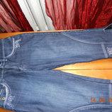 Теплые,джинсовые бриджи на флисе,размер 30