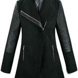 Демисезонное женское шерстяное пальто с рукавами из эко-кожи