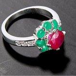 нежное кольцо с изумрудом и рубином 925 пр.ТОРГ