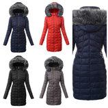 Стеганое женское пальто зимнее больших размеров