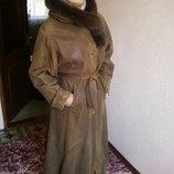 Шикарное Кожаное пальто в пол.L-XXL