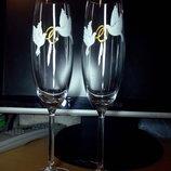 Свадебные бокалы Голубиная любовь