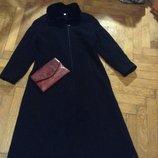 Пальто шерсть, чорне довге класичне з комірцем під цигейку