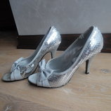 Туфли с открытым 24 см носком серые оригинал F&F новые серые паетки бант каблук look