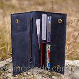 Кошелек кожаный ручная работа, мужской клатч Travel case 2 подарка.