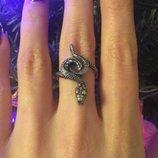 Кольцо серебряное Змея