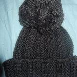 Зимняя шапка крупной вязки подросток-взрослая на голову 52-56
