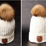 шапка женская с помпоном ХИТ натуральный мех теплая вязаная
