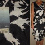 Платье-миди черно-белое, 100% лен НОВОЕ 8-10 р.