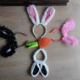 карнавальные костюмы зайчик наушники обруч заяц белый розовый черный