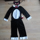 карнавальний костюм кот кошка черный TU белый платье утренник новый год праздник хелоуин