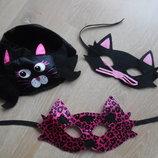 карнавальний костюм маски кошка кошак детские черные розовые шапка